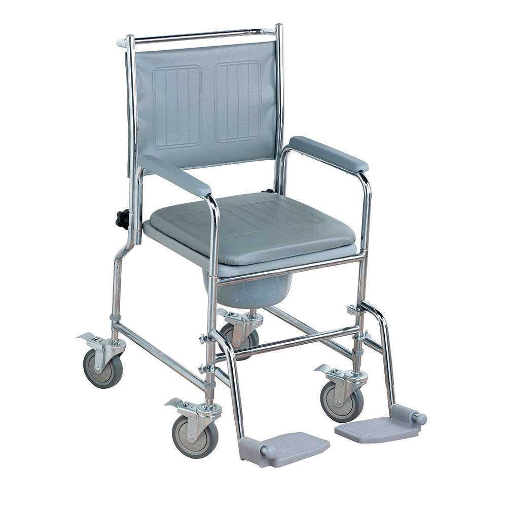 Height Adjustable Wheeled Commode Chair