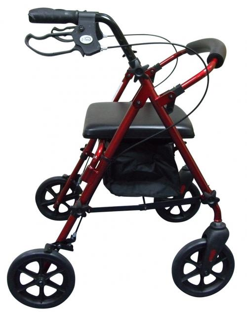 folding lightweight rollator in red