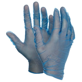 blue vinyl gloves