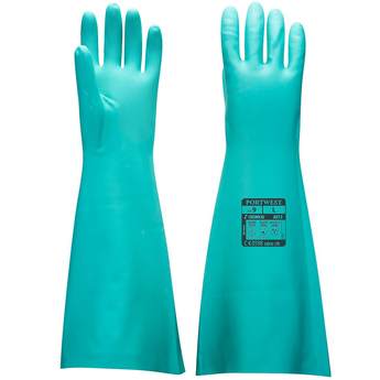 Extended Length Nitrile Gauntlet Green Gloves