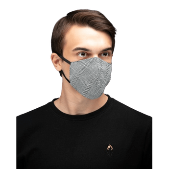 Reusable Cotton Face Mask - Grey Check