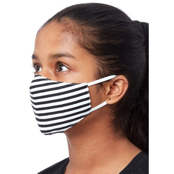 Kids Fabric Reusable Face Mask - Black & White Stripe