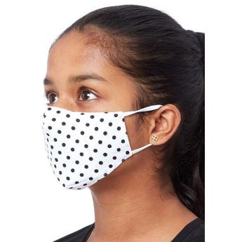 Kids Fabric Reusable Face Mask - Black Dots