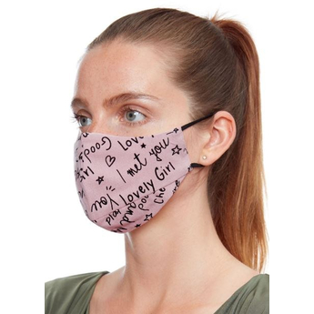 Fabric Reusable Face Mask - Pink With Print