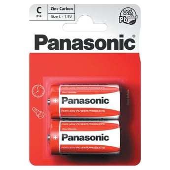 Panasonic Zinc Carbon 2 x C Battery Pack