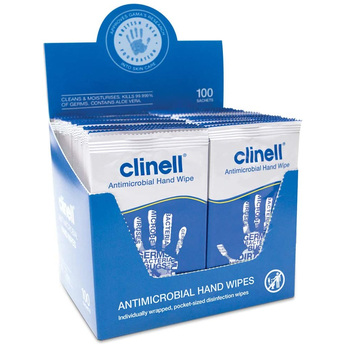 Clinell - Antibacterial Hand Wipes Pack of 100