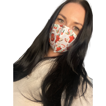 Christmas Reusable Face Mask - Red and White Decoration