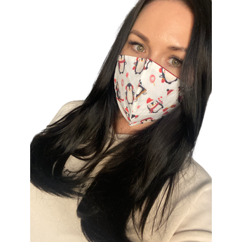 Christmas Reusable Face Mask - Red and White Penguin