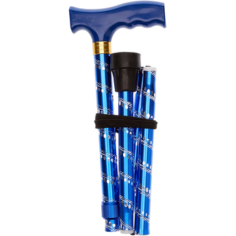 Extendable Plastic Handled Walking Stick with Engraved Pattern in Blue