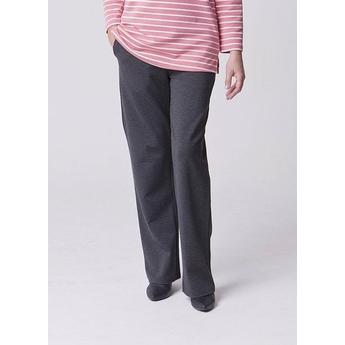 Grey Straight Leg Pull Up Trousers