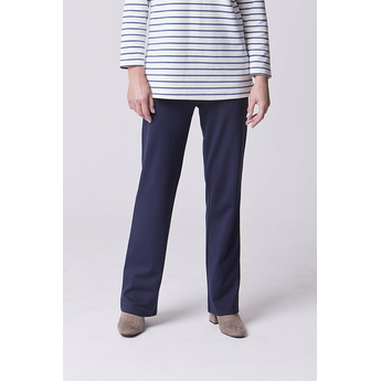 Navy Straight Leg Pull Up Trousers