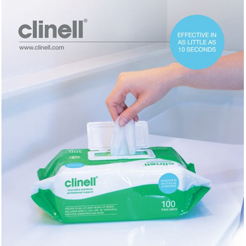 Clinell Hand & Surface Universal Disinfection wipes, Extra Thick,100pk